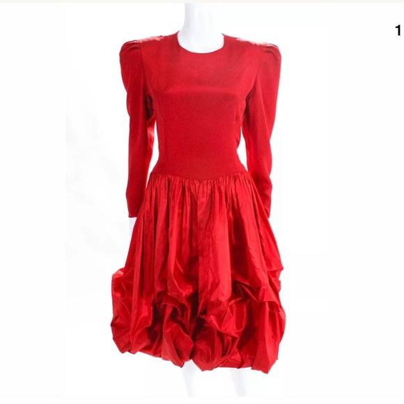 Carolina Herrera Dresses & Skirts - Carolina Hererra | Vintage Red Formal Ruched Dress